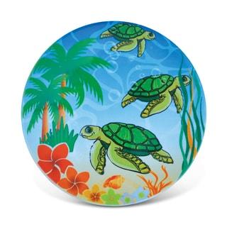 Puzzled Happy Sea Turtles Ceramic Nautical Coaster