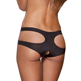 Women's Black Spandex and Polyester Cut-out Open-crotch Panty