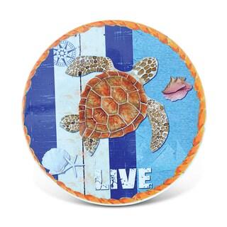 Puzzled Sea Turtle Ceramic Nautical Coaster