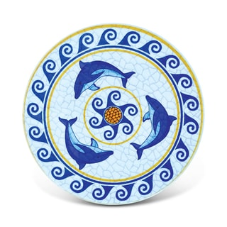 Puzzled Multicolored Ceramic Dolphin-themed Mosaic Nautical Coaster