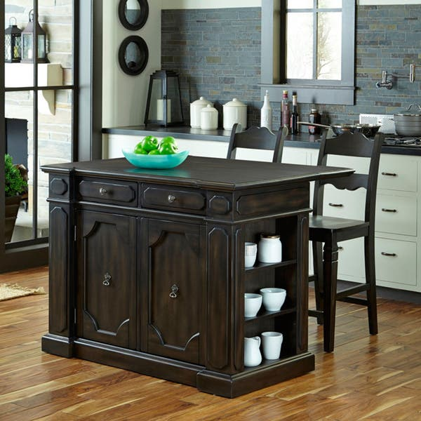 Hacienda Wood Top Kitchen Island with 2 Stools by Home Styles