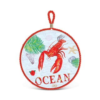 Puzzled Nautical Decor Collection Lobster Ceramic Pot Holder