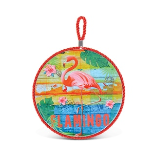 Puzzled Flamingo Multicolor Ceramic Pot Holder