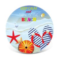 Puzzled Keep Calm At The Beach Ceramic Nautical Coaster