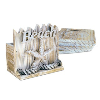 Puzzled Baja Beach Starfish Nautical Wooden Coaster Pack (Set of 4)