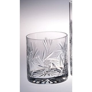Majestic Gifts Set of Four Hand Cut Crystal Double Old Fashioned 14-ounce Tumblers