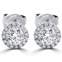 18k White Gold 1/2 ct TDW Diamond Halo Studs
