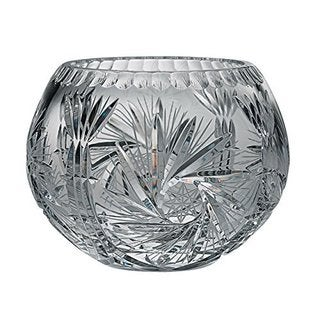 Majestic Gifts Hand-cut Crystal 6-inch Deep Rose Bowl