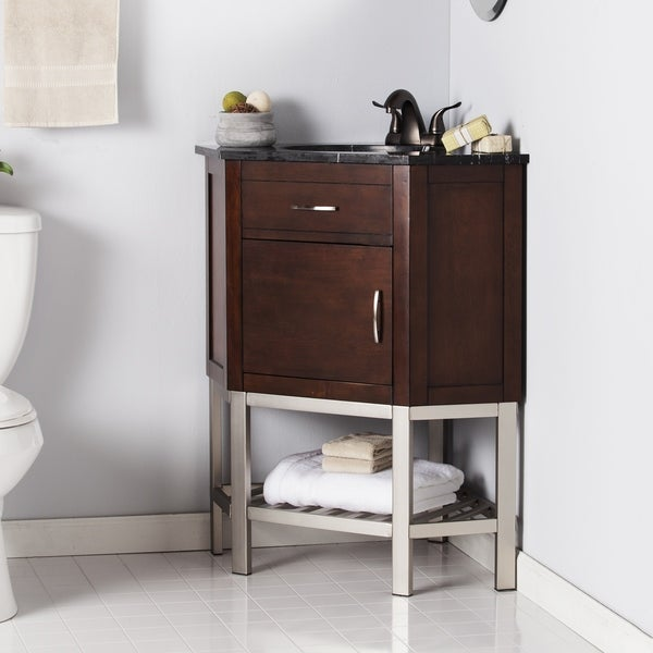 Shop harper blvd karhold corner bath vanity sink w marble - Corner bathroom vanities for sale ...