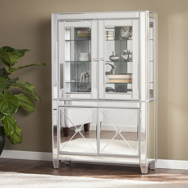 Shop Harper Blvd Zephyr Mirrored Lighted Curio Cabinet