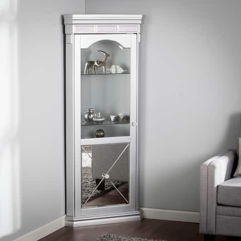 Zephyr Mirrored Lighted Corner Curio Cabinet