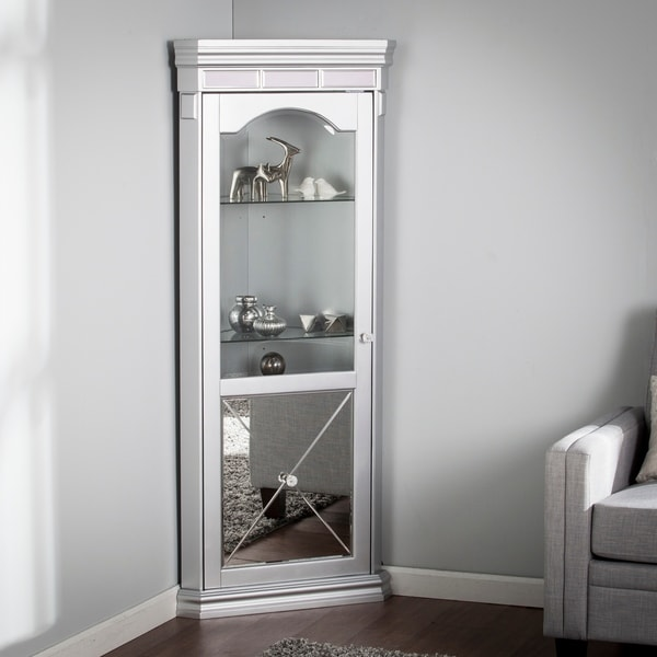 Shop Zephyr Mirrored Lighted Corner Curio Cabinet Free