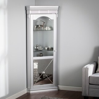 Harper Blvd Zephyr Silver Mirrored and Lighted Corner Curio Cabinet