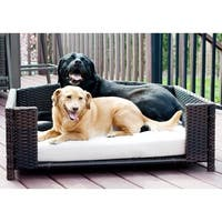 Iconic Pet Dark Brown Rattan Wicker Rectangular Indoor and Outdoor Pet Sofa with Ivory Cushion