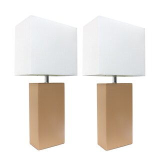 Elegant Designs White Fabric Shade/Beige Leather Base Table Lamp 2-Pack