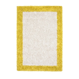 Jani Silky Shag Ivory and Mustard Yellow Border Rug (5' x 7')