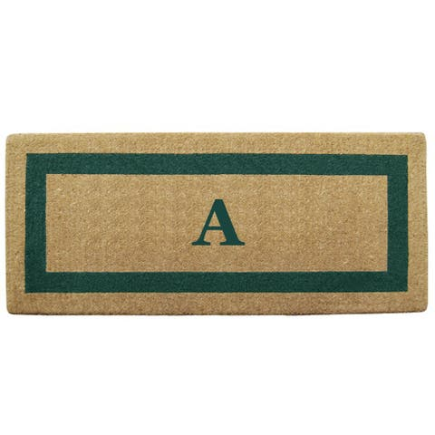 Green Single Picture Frame Heavy-duty Coir Monogrammed Doormat - 24 inches x 57 inches