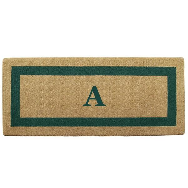 Green Single Picture Frame Heavy-duty Coir Monogrammed Doormat