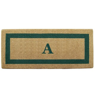 Green Single Picture Frame Heavy-duty Coir Monogrammed Doormat (More options available)