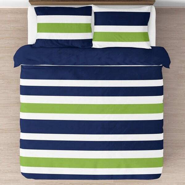 Teen Queen Comforter Set 7 Piece Bed In A Bag Boys Blue /& Gray Stripes