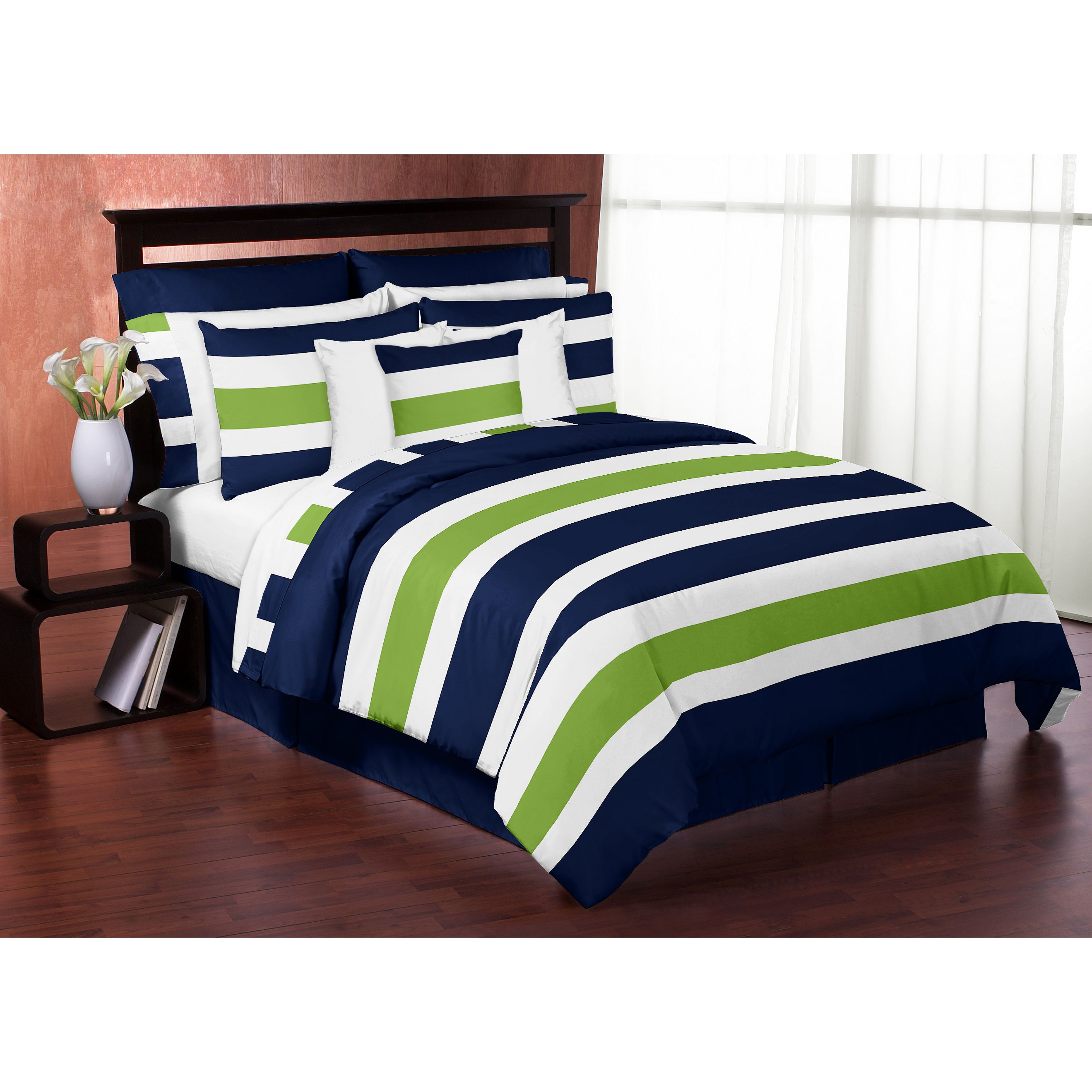. Navy and Lime Green on White Stripe Full Queen 3 piece Comforter Set
