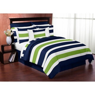Navy and Lime Green on White Stripe Full/Queen 3-piece Comforter Set