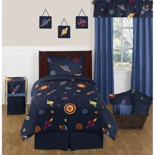 Sweet JoJo Designs Space Galaxy Planets Saturn Rocket Ship 4-piece Comforter Set