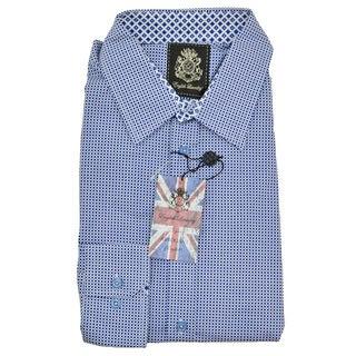 English Laundry Blue Cotton Dot Print Sport Shirt
