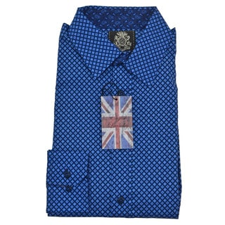 English Laundry Men's Blue Cotton Geometric Print Sport Shirt