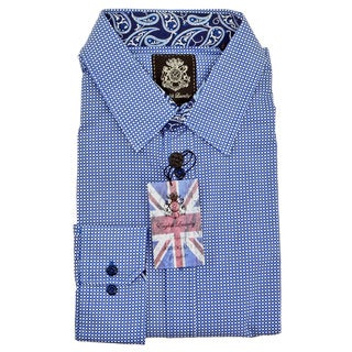 English Laundry Blue Cotton Geometric Print Sport Shirt