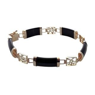 14k Yellow Gold Black Jade Good Fortune Bracelet