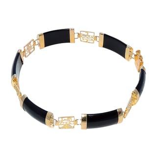 Good Fortune Black Jade and Gold Bracelet