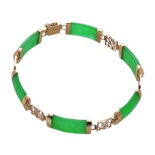 Good Fortune Green Jade and Gold Bracelet