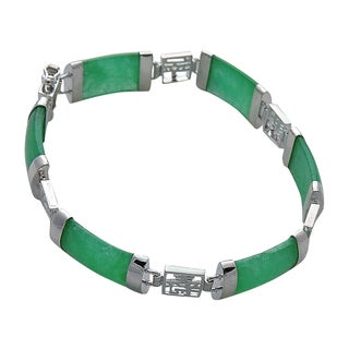 Good Fortune Silver and Green Jade Bracelet