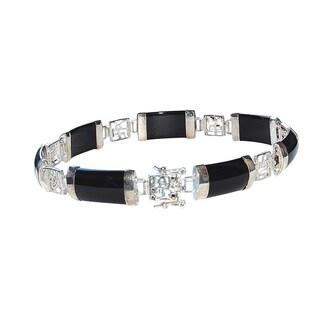 Good Fortune Silver and Black Jade Bracelet