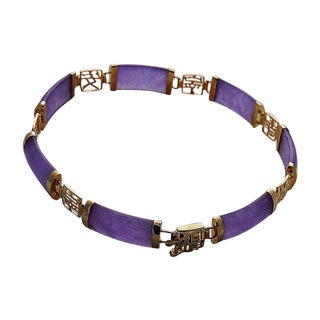 Good Fortune Lavender Jade and Gold Bracelet 8 inches