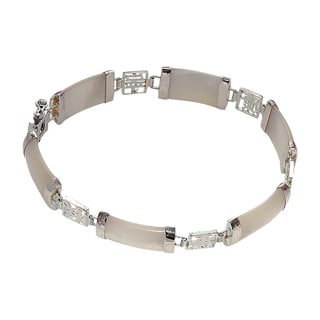 Good Fortune Silver and White Jade Bracelet