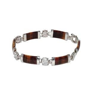 Good Fortune Silver and Tiger-Eye Jade Bracelet