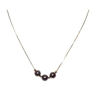 14k Yellow Gold 3-piece Black Freshwater Pearl Necklace