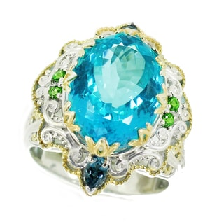 One-of-a-kind Michael Valitutti Palladium Silver Paraiba Coated Topaz, London Blue Topaz and Chrome Diopside Ring