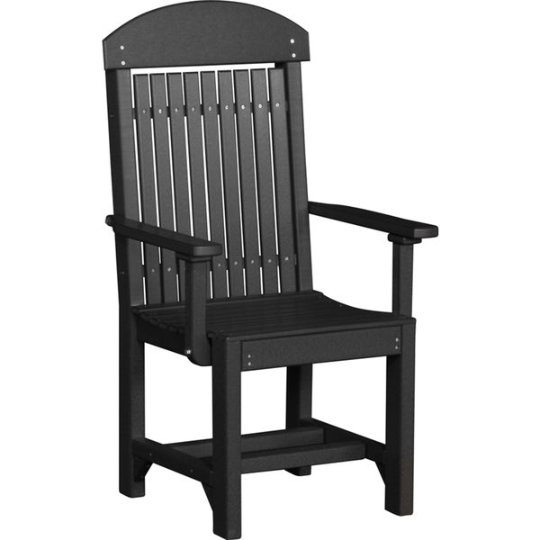 Set Of 2 Poly Outdoor High Back Dining Height Captain Chairs