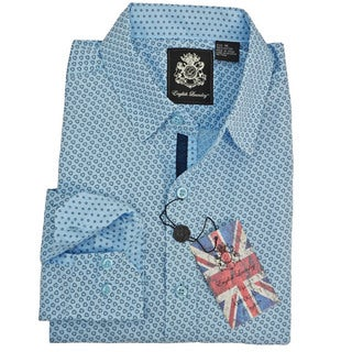 English Laundry Men's Blue Cotton Small Patterned Sport Shirt