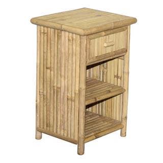 Handmade Natural Bamboo Single Drawer Nightstand (Vietnam) - Yellow