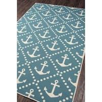 """Momeni Baja Anchors Blue Indoor/Outdoor Area Rug - 5'3"""" x 7'6"""""""