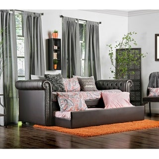Furniture of America Nellie Tuxedo Style Tufted Leatherette Daybed with Twin Trundle