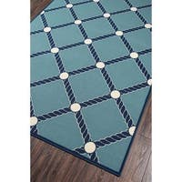 "Momeni Baja Nautical Rope Blue Indoor/Outdoor Area Rug - 5'3"" x 7'6"""