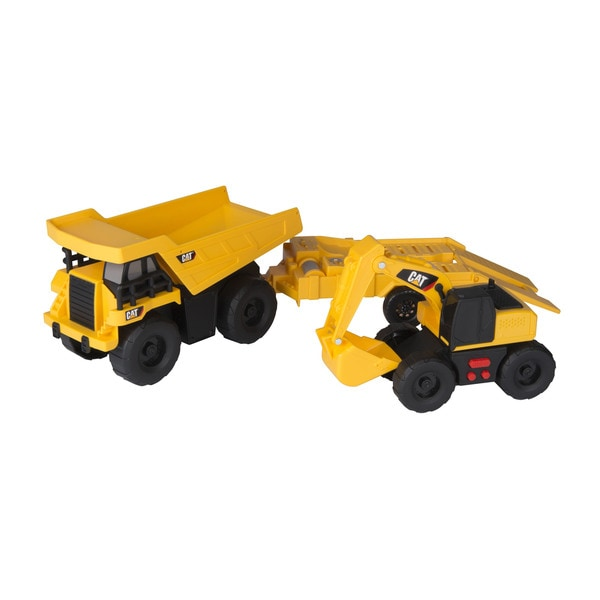Caterpillar Light and Sound Multicolor Plastic Dump Truck with Trailer and Excavator