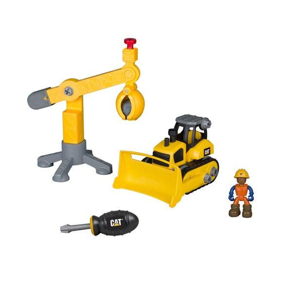 Caterpillar Kids' Plastic Bulldozer and Crane Junior Operator Worksite Machine Pair (12-piece Set)