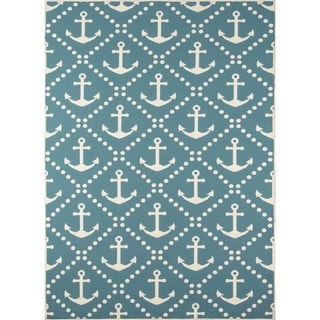 "Machine Made Indoor/Outdoor Nautical Anchor Rug (8'6"" x 13')"