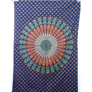 Handmade Blue, Green, and Orange Cotton Mandala Tapestry (India)